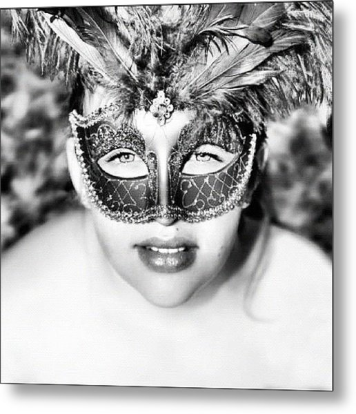 #gorgeous #mask #blackandwhite #young Metal Print
