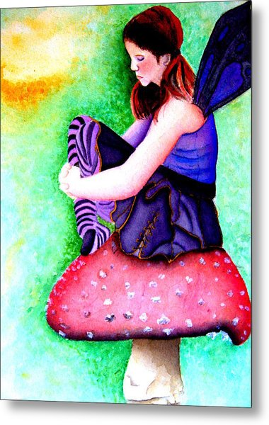 Gothic Teenage Fairy Metal Print by Amanda Pillet