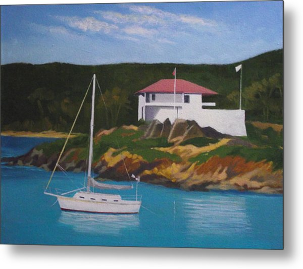 Government House At Cruz Bay Metal Print by Robert Rohrich