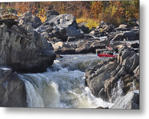 Grace Under Pressure On The Potomac River At Great Falls Park Metal Print
