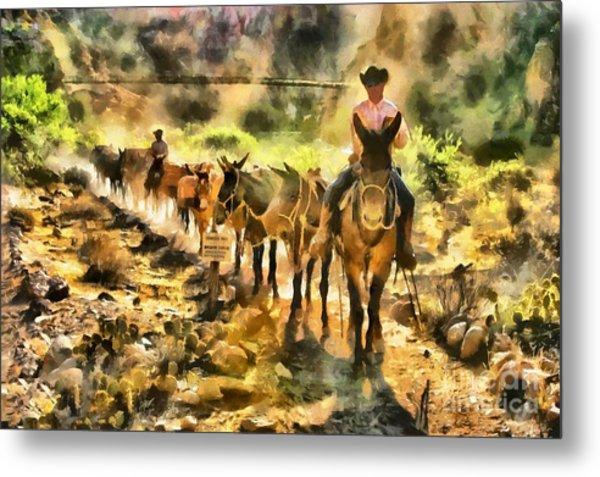 Grand Canyon Mules At The River Metal Print