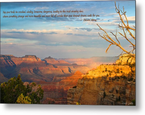 Grand Canyon Splendor - With Quote Metal Print