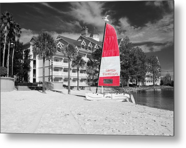 Grand Floridian Resort Beach Walt Disney World Prints Color Splash Black And White Metal Print