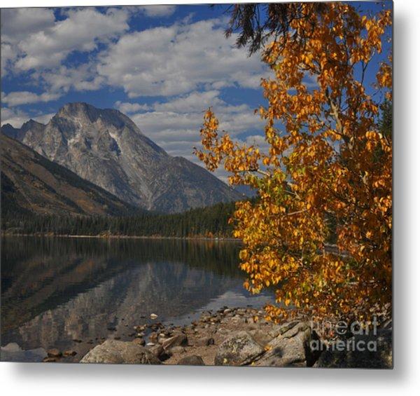 Grand Teton National Park Fall Cloud Mountain Reflections Metal Print
