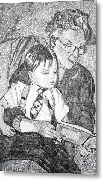 Grandma Reading Metal Print