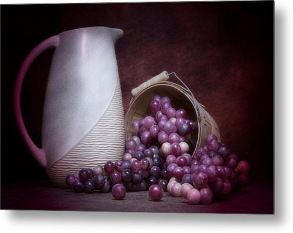 Grapes With Pitcher Still Life Metal Print