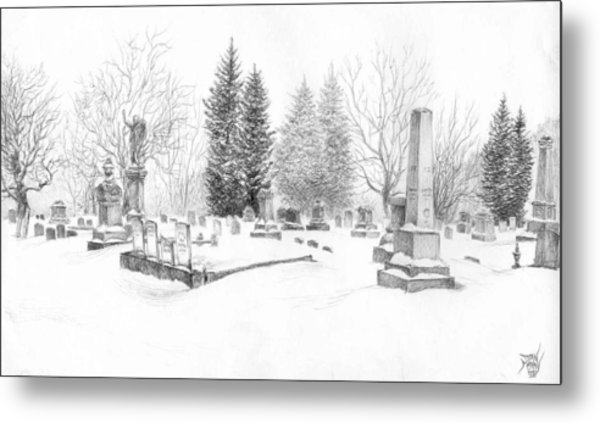 Graveyard In The Snow Metal Print