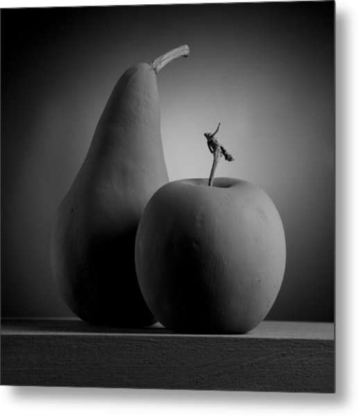 Gray Variations - Apples Metal Print by Ovidiu Bastea