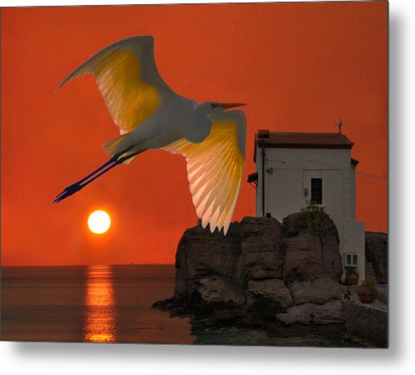 Metal Print featuring the mixed media Great Egret Sunset In Skala by Eric Kempson