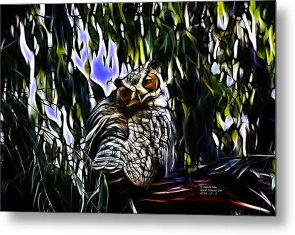 Great Horned Owl - 4228 - Fractal - S Metal Print