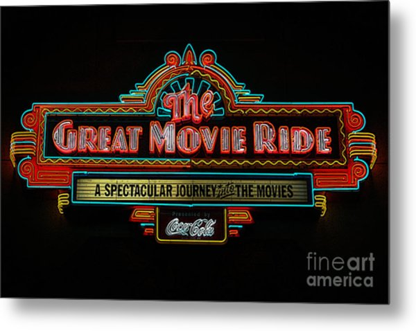 Great Movie Ride Neon Sign Hollywood Studios Walt Disney World Prints Poster Edges Metal Print