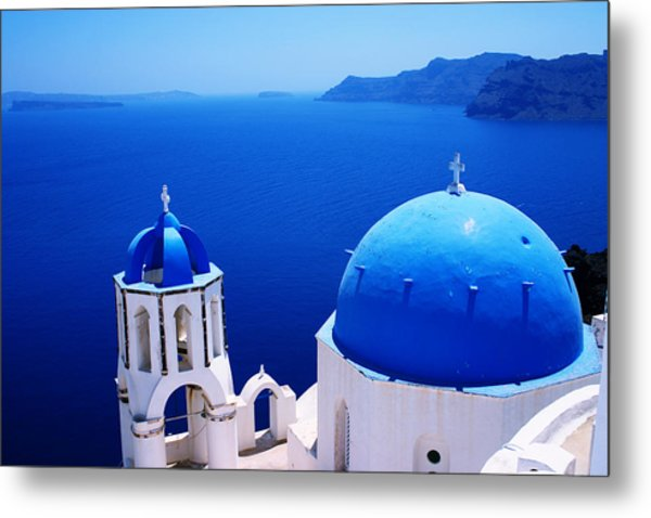 Greek Blue Metal Print