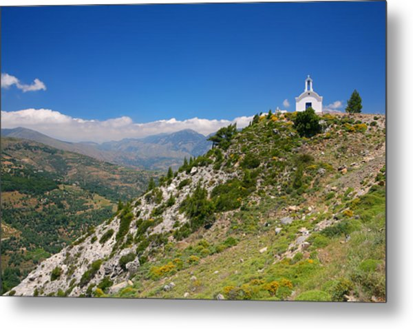 Greek Mountain Church Metal Print