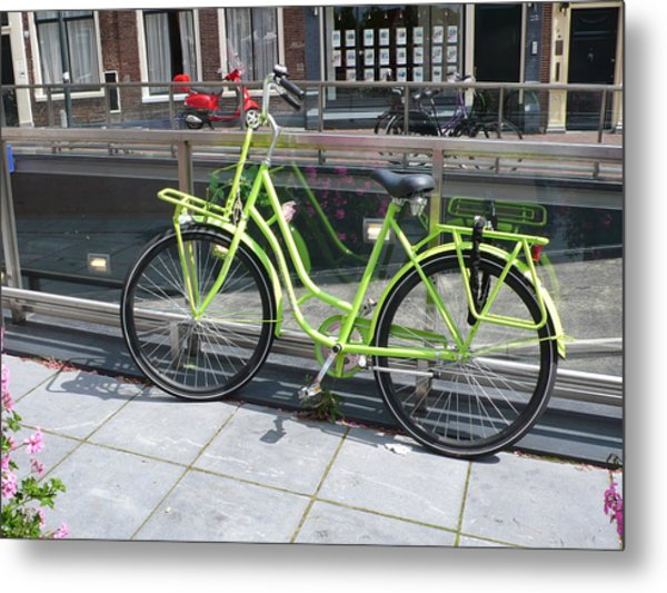 Green Bike Haarlem Holland Metal Print by Gregory Smith