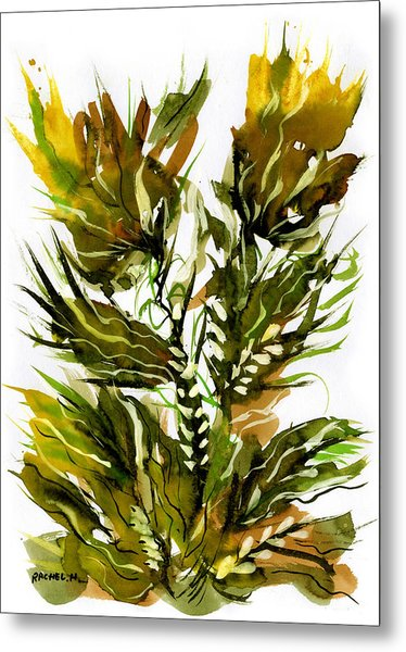 Green Flames Metal Print