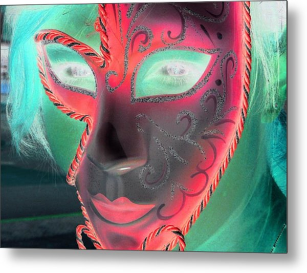 Green Girl With Red Mask Metal Print