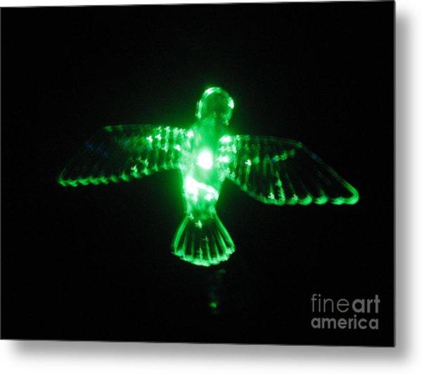 Green Neon In Flight Metal Print