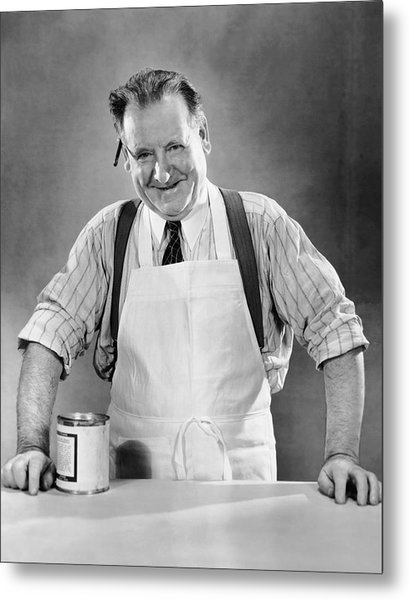 Grocery Store Salesman W/can On Counter Metal Print by George Marks