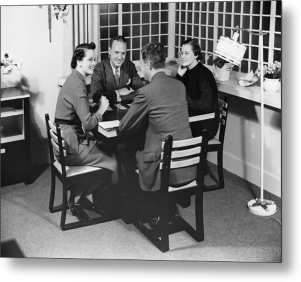 Group At A Table Metal Print by George Marks