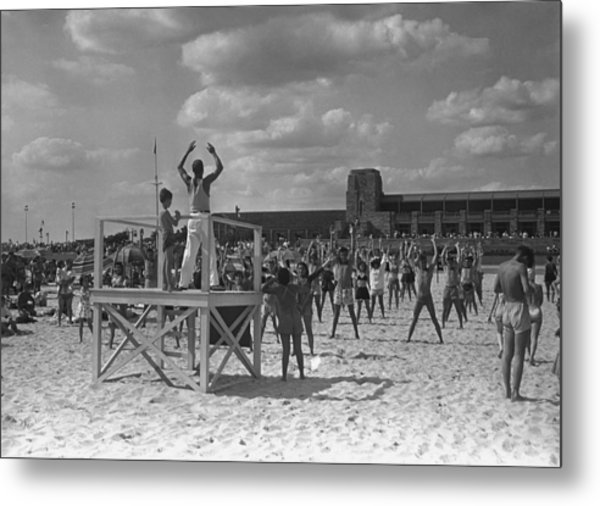 Group Of People Exercising On Beach, (b&w) Metal Print by George Marks