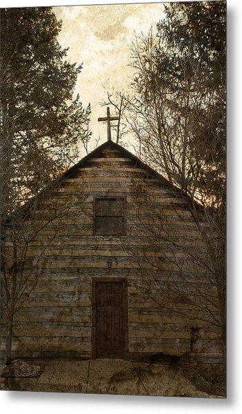 Grungy Hand Hewn Log Chapel Metal Print
