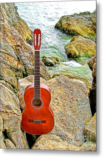 Guitar By The Sea Metal Print