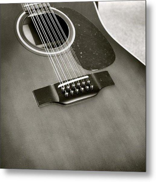 Guitar In Black And White Metal Print