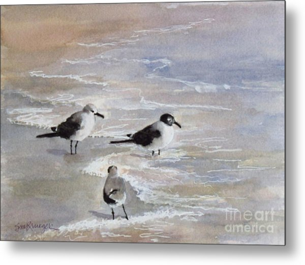 Gulls On The Beach Metal Print