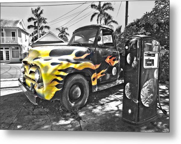 Hanapepe Truck - Yellow Highlights Metal Print