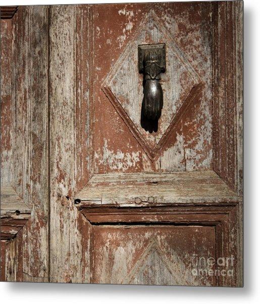 Hand Knocker And Weathered Wooden Doors Metal Print