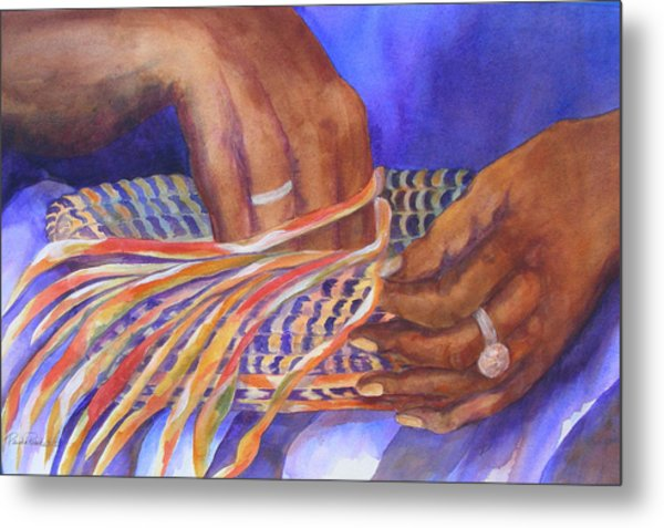 Metal Print featuring the painting Hands Of The Basket Weaver by Paula Robertson