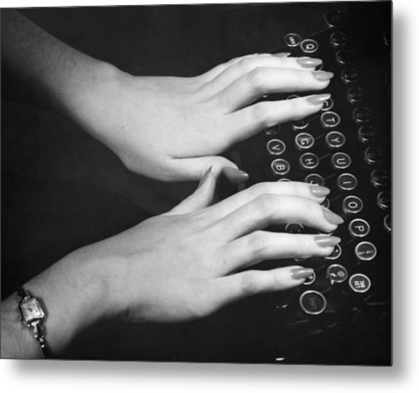 Hands Typing Metal Print by George Marks