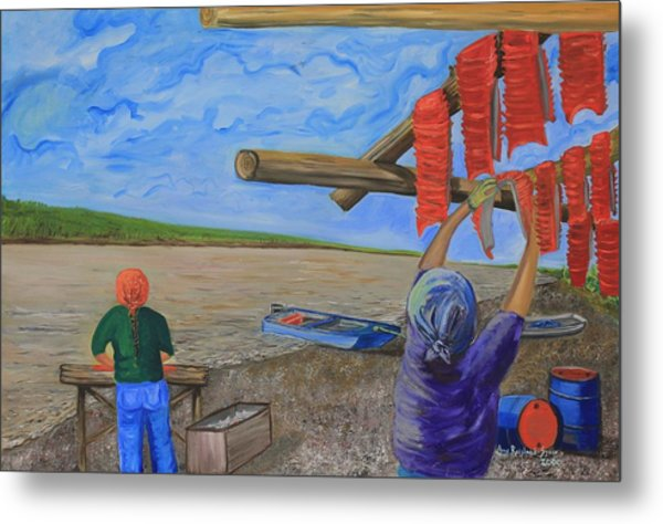 Hanging Salmon On The Yukon River Metal Print by Amy Reisland-Speer