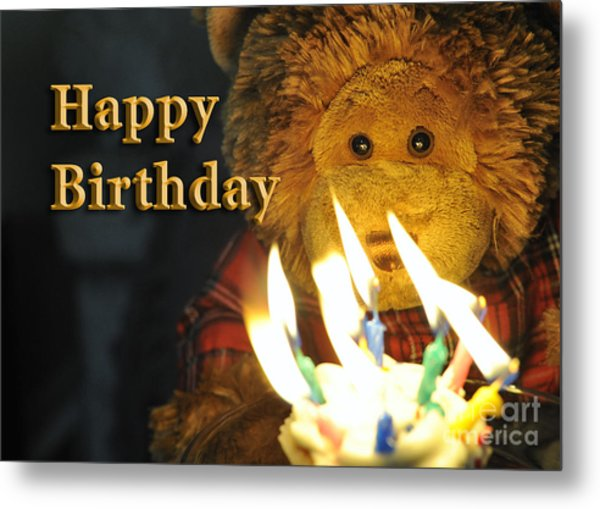 Happy Birthday Bear 2 Metal Print