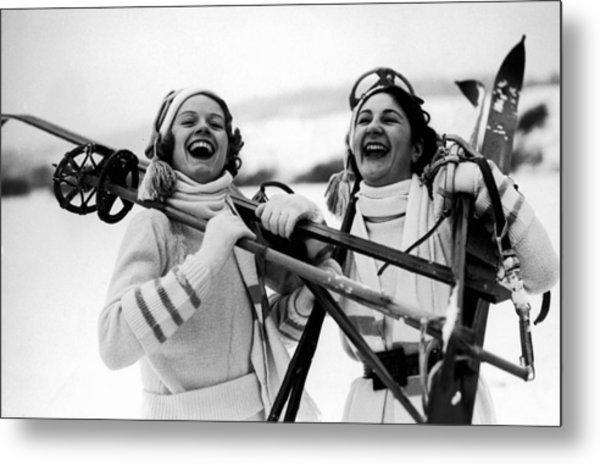 Happy Skiers Metal Print by Fox Photos