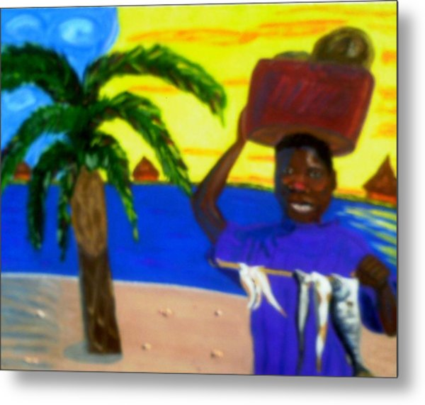Happy With His Catch Metal Print by Annette Stovall