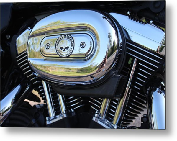 Harley Chrome Metal Print by Christean Ramage