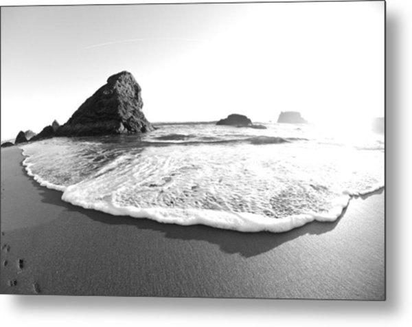 Metal Print featuring the photograph Harris Beach State Park Monochrome by Margaret Pitcher