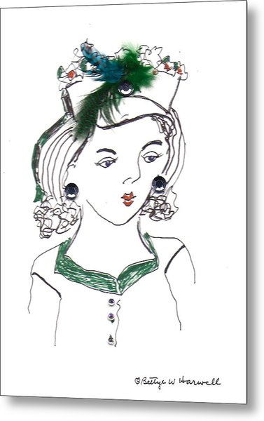 Hat Lady 10 Metal Print by Bettye  Harwell