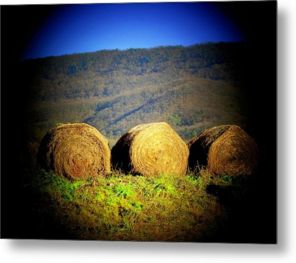 Hay Rolls On Mountain Metal Print by Michael L Kimble