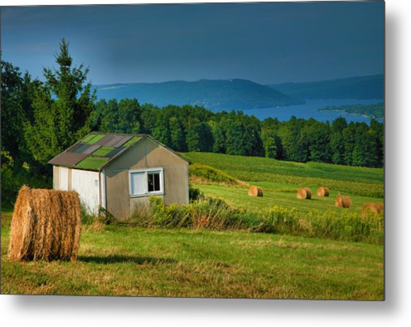 Hayfield And Lake II Metal Print by Steven Ainsworth