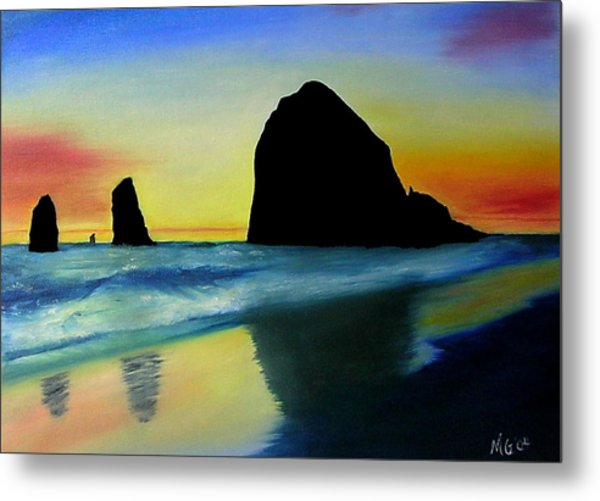 Haystack Shadows  Metal Print by Mary Gaines