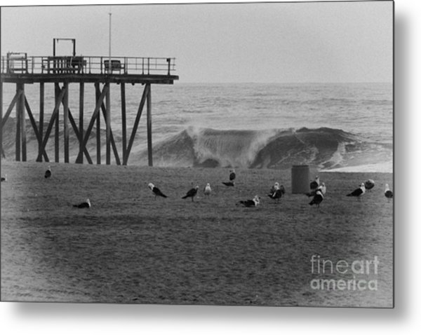 Hdr Black White Beach Beaches Ocean Sea Seaview Waves Pier Photos Pictures Photographs Photo Picture Metal Print by Pictures HDR