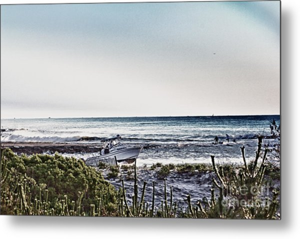Hdr Boat Boats Beach Beaches Ocean Sea Photos Pictures Photography Photo Oceanview Seaview Picture Metal Print by Pictures HDR