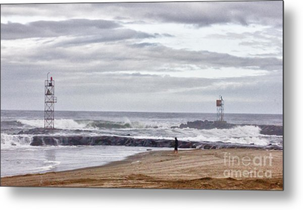 Hdr Two Light Towers Beach Beaches Ocean Sea Seaview Oceanview Photos Pictures Photography Photo Pic Metal Print by Pictures HDR