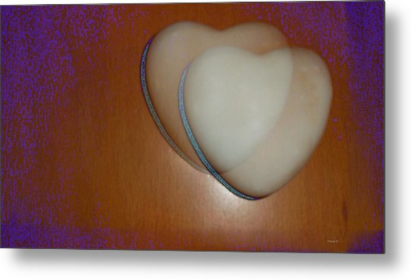 Hearts-marble Metal Print by Ines Garay-Colomba