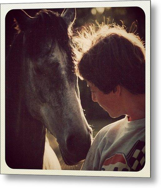 Heike & Her Horse Metal Print