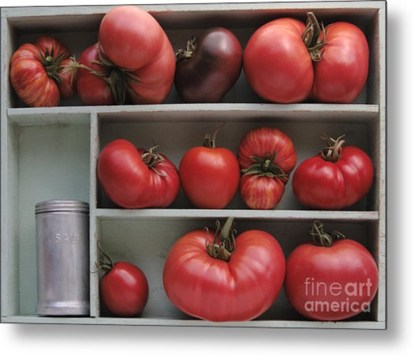 Heirloom Tomatoes With An Old Salt Shaker Metal Print by Ruby Hummersmith