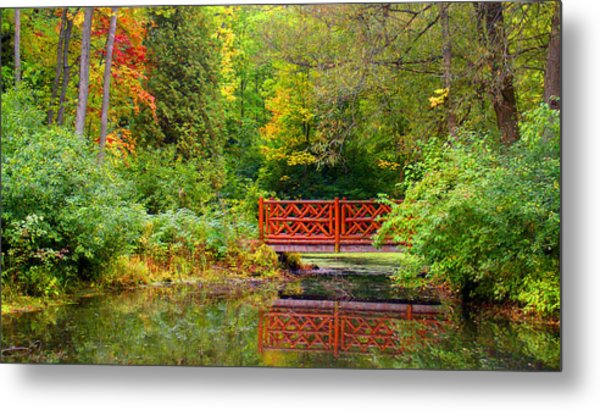 Henes Park Pond Bridge Metal Print