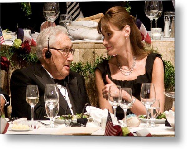 Henry Kissinger, Carla Bruni-sarkozy Metal Print by Everett